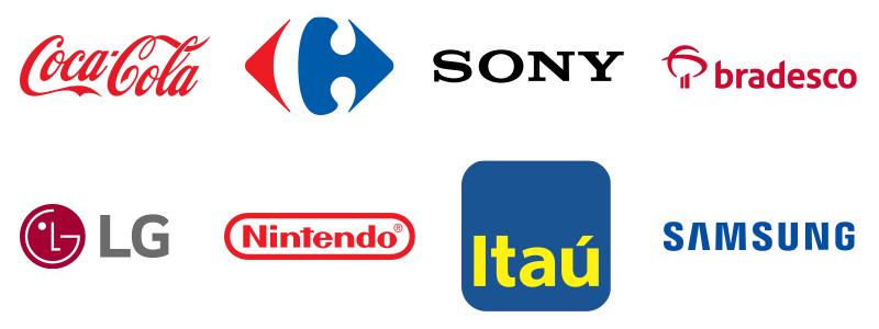 Coca-Cola, Carrefour, Sony, Bradesco, LG, Nintendo, Itaú, Samsung